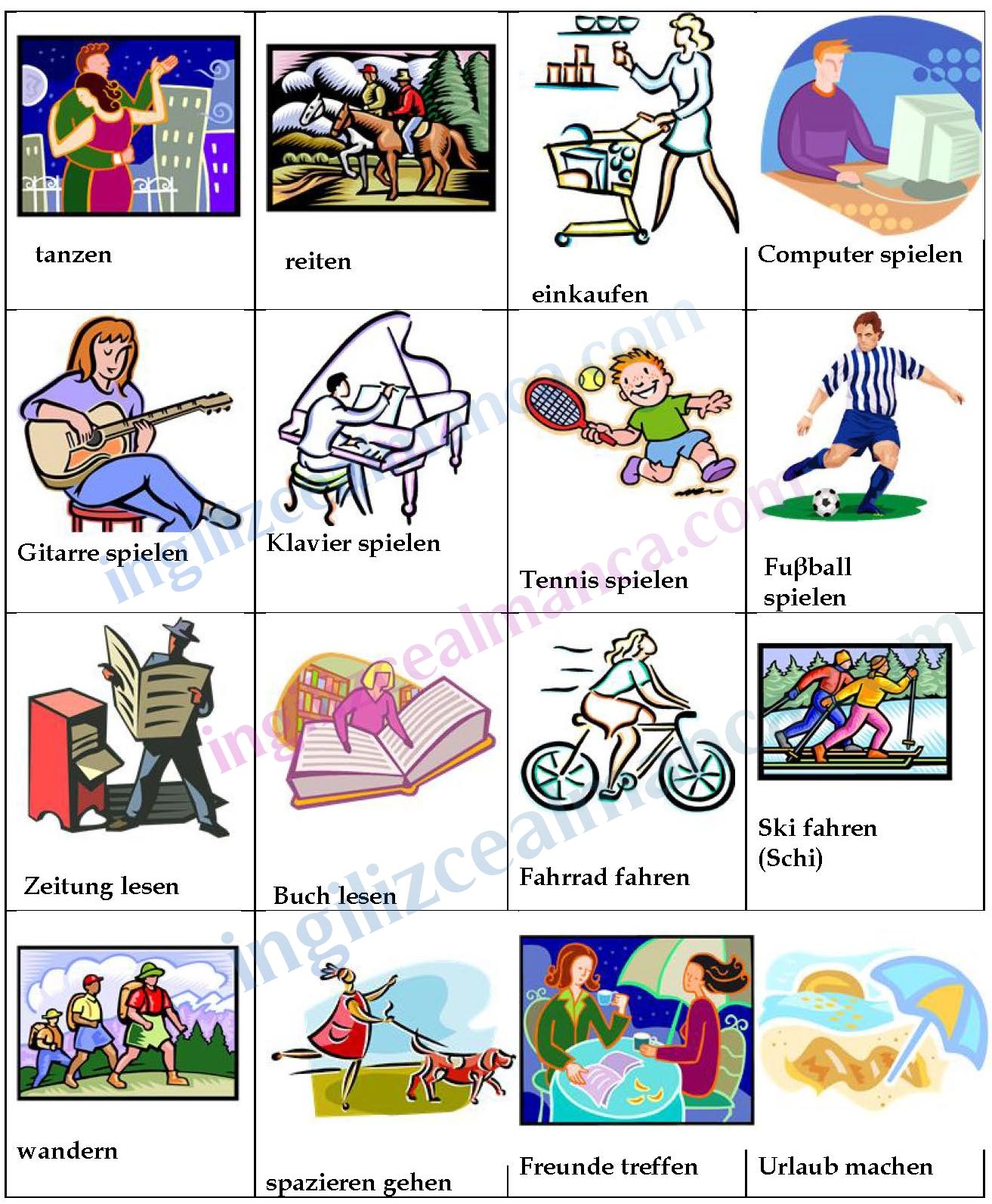 Almanca Hobiler Almanca Hobilerimiz Ingilizce Dersleri Almanca