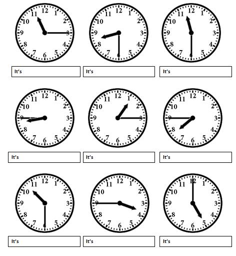 ingilizce-saatler-alistirmalar